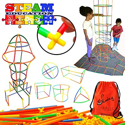Skoolzy STEM Toys Connecting Straws Building Kits - Fine Motor Skills Interlocking Engineering Builder Set Preschool Activity, Building Toys for Boys or Girls Ages 3 4 5 6 7 8 9 10 Year Old + Tote: Toys & Games