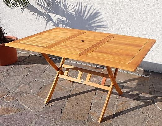 Mesa plegable Mesa Extensible mesa de madera mesa de jardín mesa de jardín 100/140 x 90 cm barnizada Madera eucalipto como teca de as de S: Amazon.es: Jardín
