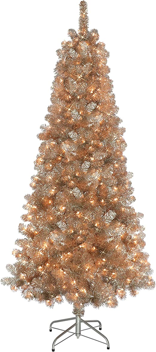 Amazon Com Puleo International 6 5 Foot Pre Lit Rose Gold Tinsel Artificial Christmas Tree With 400 Ul Listed Clear Lights Home Kitchen