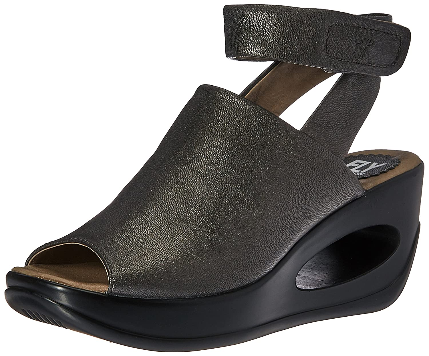 FLY London Women's Hini892fly Wedge Sandal B01M3NVQL2 39 EU/8-8.5 M US|Graphite Borgogna