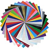 Qbc Craft 12x12 Permanent Adhesive Vinyl Sheets (36 Pack) Assortment Multi Color with Transfer Paper for Cricut Expression Explore Silhouette Cameo make Adhesive Backed Vinyl Decals Signs