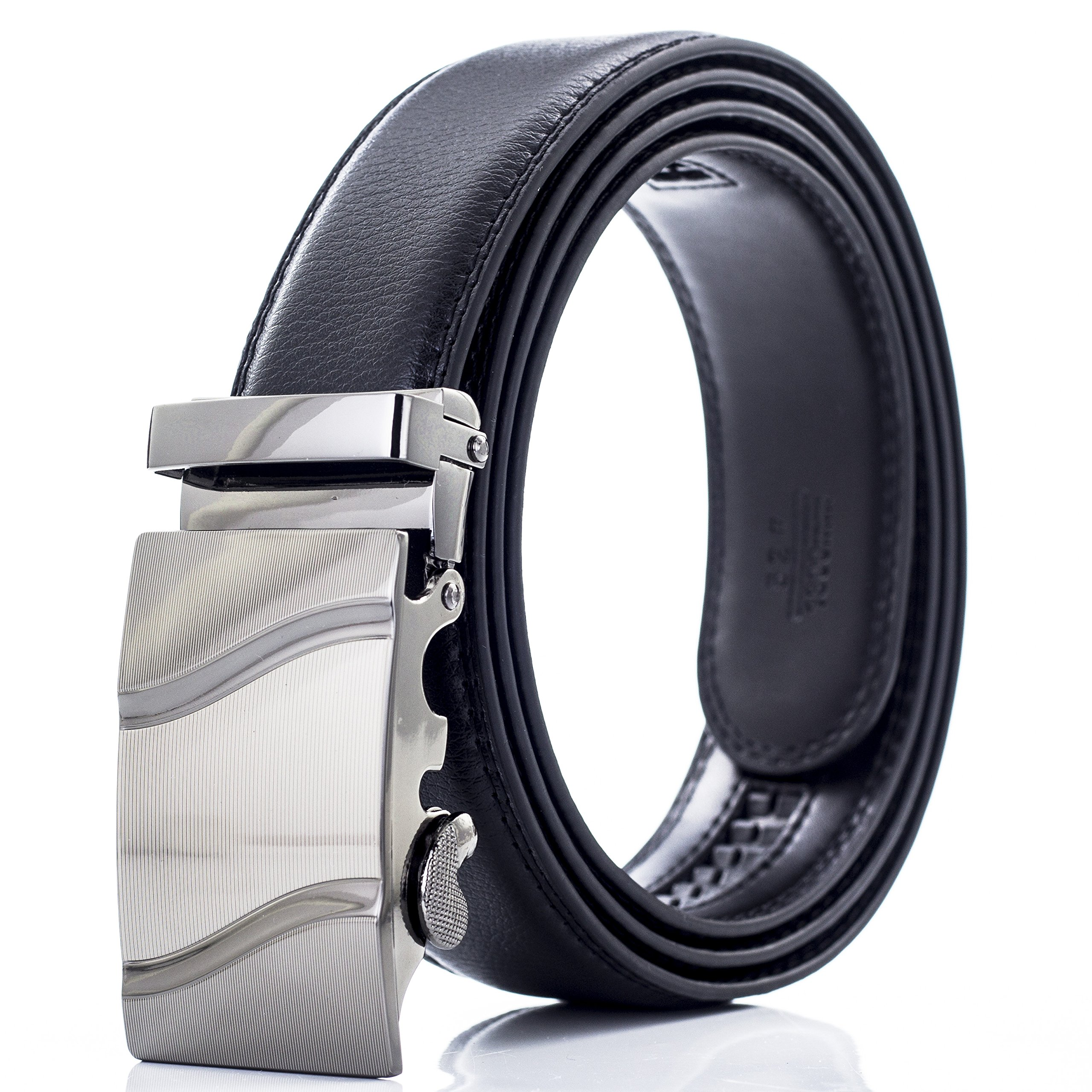Automatic Ratchet Leather Belt For Men, Durable Alloy Metal Buckle, 35mm Wide DA02-BLK