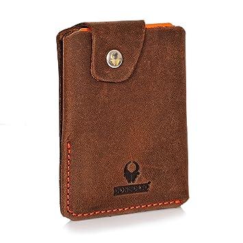 f6401ee7944ed Donbolso Slim Wallet mit Münzfach Bern Herren Kreditkartenetui Geldbörse  Leder Mini Geldbeutel Klein Portemonnaie Damen Kartenetui