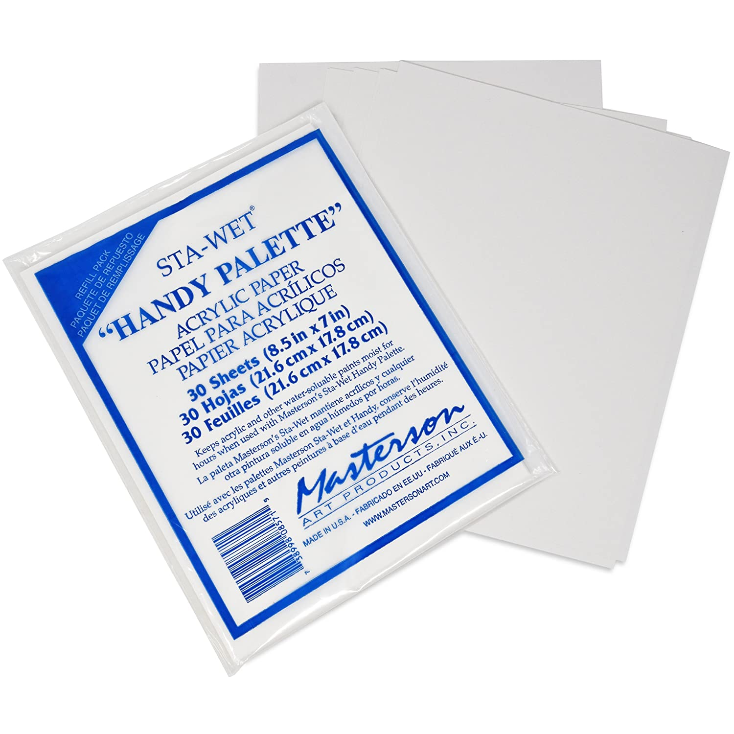 and Pack of 3 Handy Palette Sponges with Pack of 30 Acrylic Paper 8 1//2 in Masterson Sta-Wet Palette with Airtight Lid Keeps Paint Wet Fresh for Days Bonus Gift Boutique Artist Full Apron x 7 in