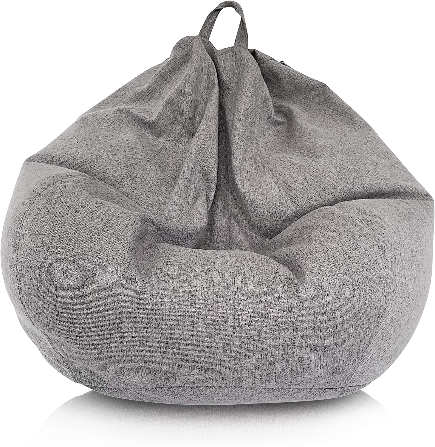 Delmach Bean Bag Chair Cover (No Filler) | Bird's Nest Shape | Adult Size | Thick Faux Linen | Stuffed Animal Storage for Kids Or Memory Foam| Double Stitched | Durable Zipper | Soft Premium