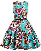 Kate Kasin Girls Sleeveless Round Neck Vintage Retro Cotton Floral Dresses