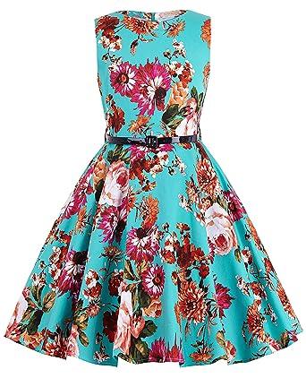 8621939b2d885 Kate Kasin Girls Sleeveless Round Neck Vintage Retro Cotton Floral Dresses:  Amazon.co.uk: Clothing