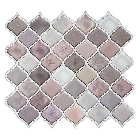 Multi Color Pink Arabesque Peel And Stick Tile Backsplash Kitchen Bathroom  Decorative Tiles 10u0026quot;x11u0026quot