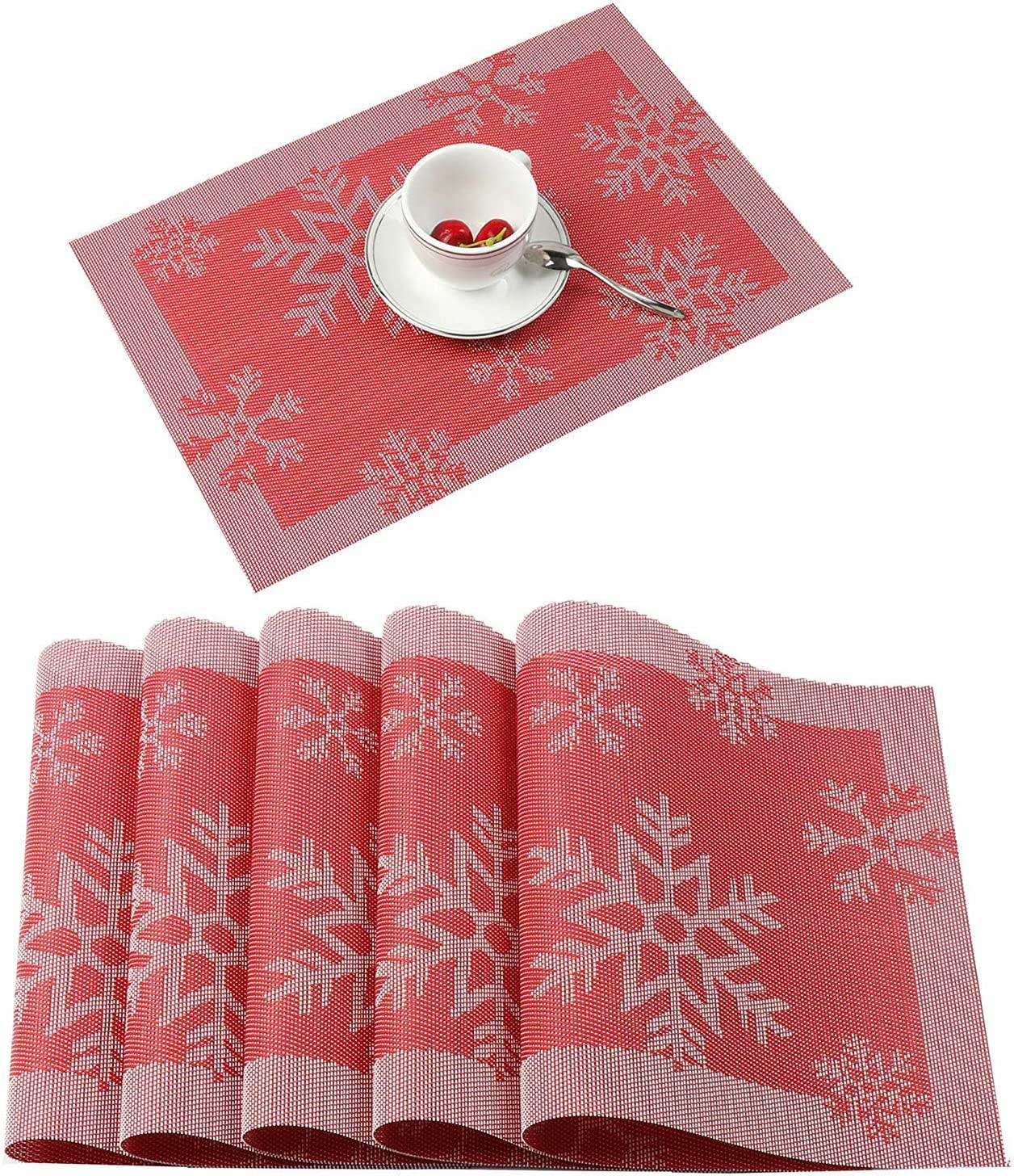 Aonewoe Christmas Placemats Set of 6 Heat Resistant Waterproof Snowflake PVC Table Mats for Dinner Easy to Wipe Clean(Red)