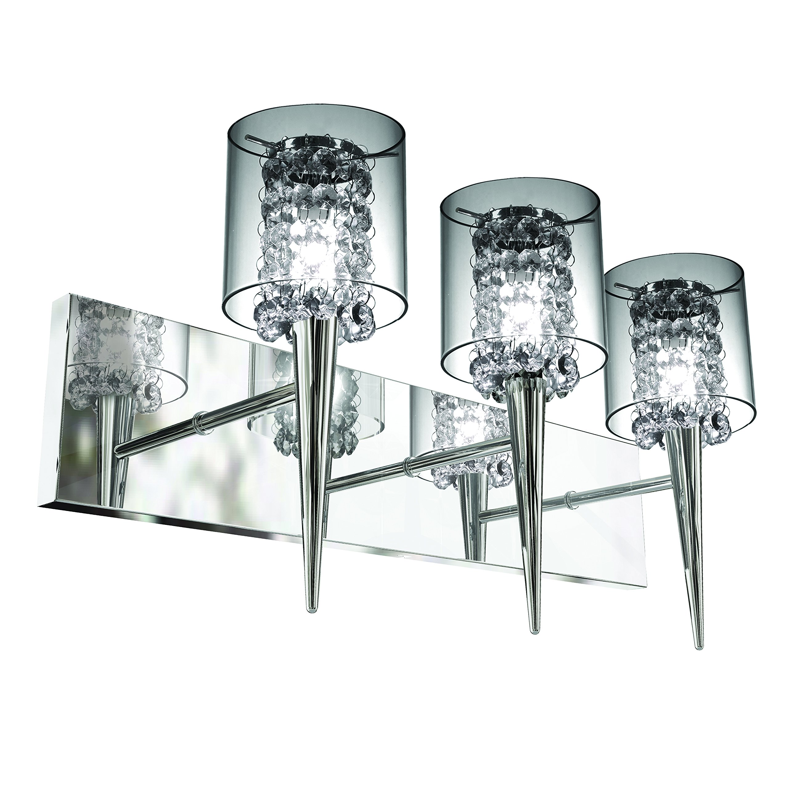 Bazz Glam Wall Fixture, Dimmable, Easy Installation, 20-in, Chrome