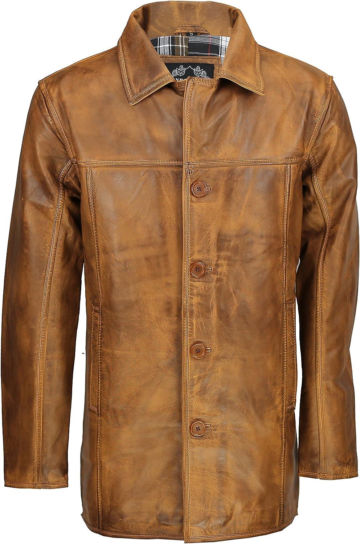 XPOSED Chaqueta de piel auténtica para hombre, color marrón, vintage, 4 botones, estilo clásico