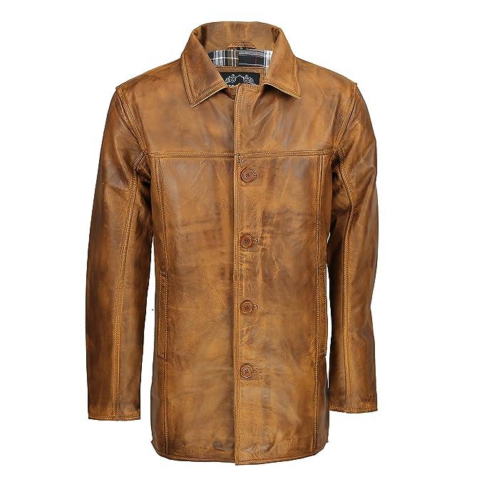 Xposed – Real de piel color marrón Vintage 4 botón Classic Reefer Chaqueta Abrigo