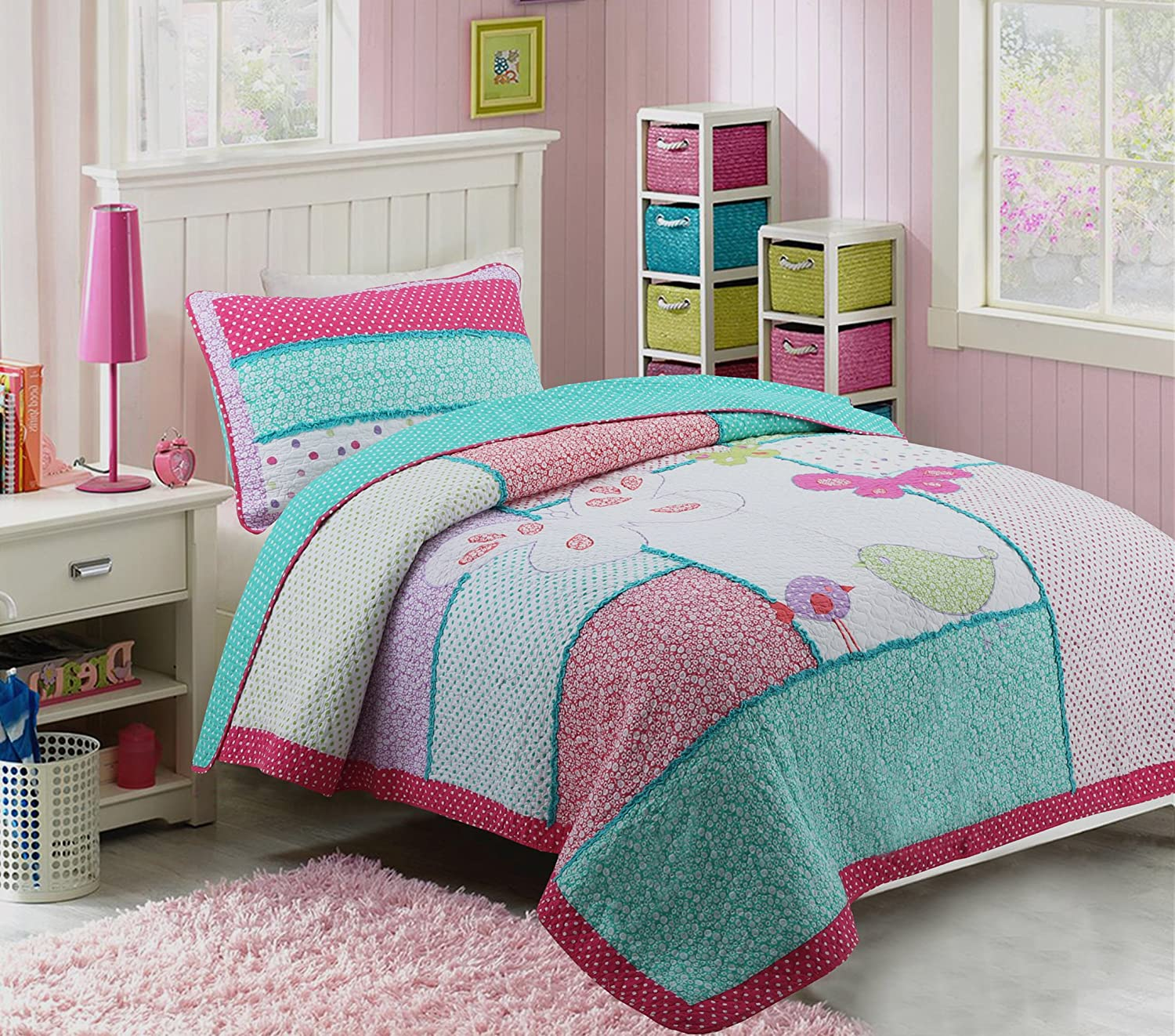 HNNSI 100% Cotton 2PCS Quilt Bedspread Set Twin Size for Kids Girls, Teen Girls Cute Patchwork Comforter Bedding sets
