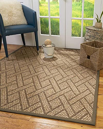 Natural Area Rugs 100 Natural Fiber Handmade Shanghai, Brown Multi Sisal Rug, 12 x 18 Fossil Border