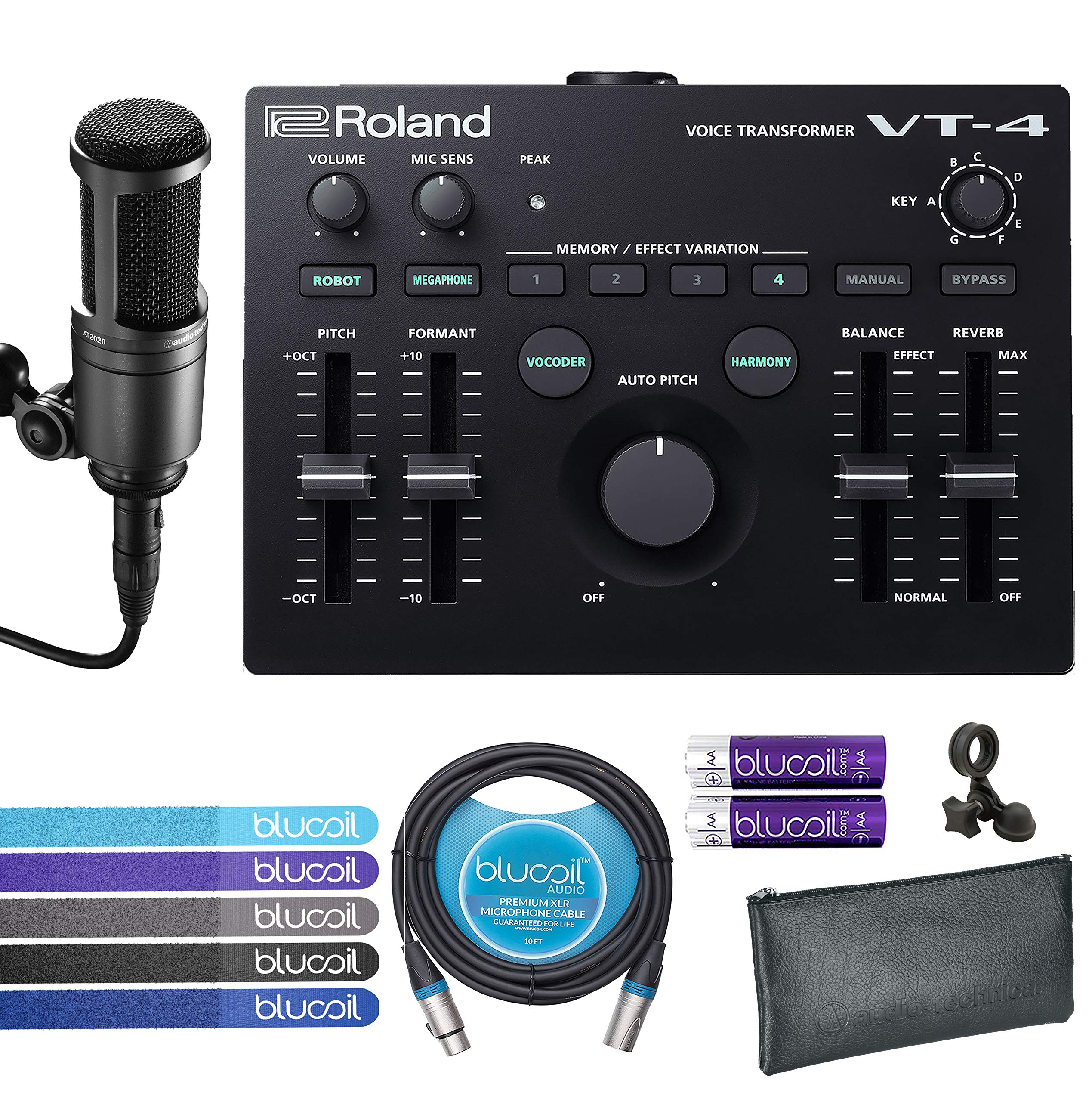 Roland VT-4 Voice Transformer Vocal Effects Processor Bundle with Audio-Technica AT2020 Cardioid Condenser Microphone, Blucoil 10-Ft XLR Balanced Cable, 4 AA Batteries and 5 Pack of Cable Ties by blucoil (Image #1)