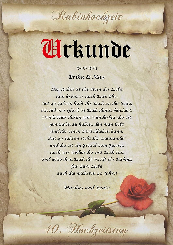 Rubinhochzeit Urkunde Personalisiert Geschenk Karte Zum 40 Hochzeitstag Din A4
