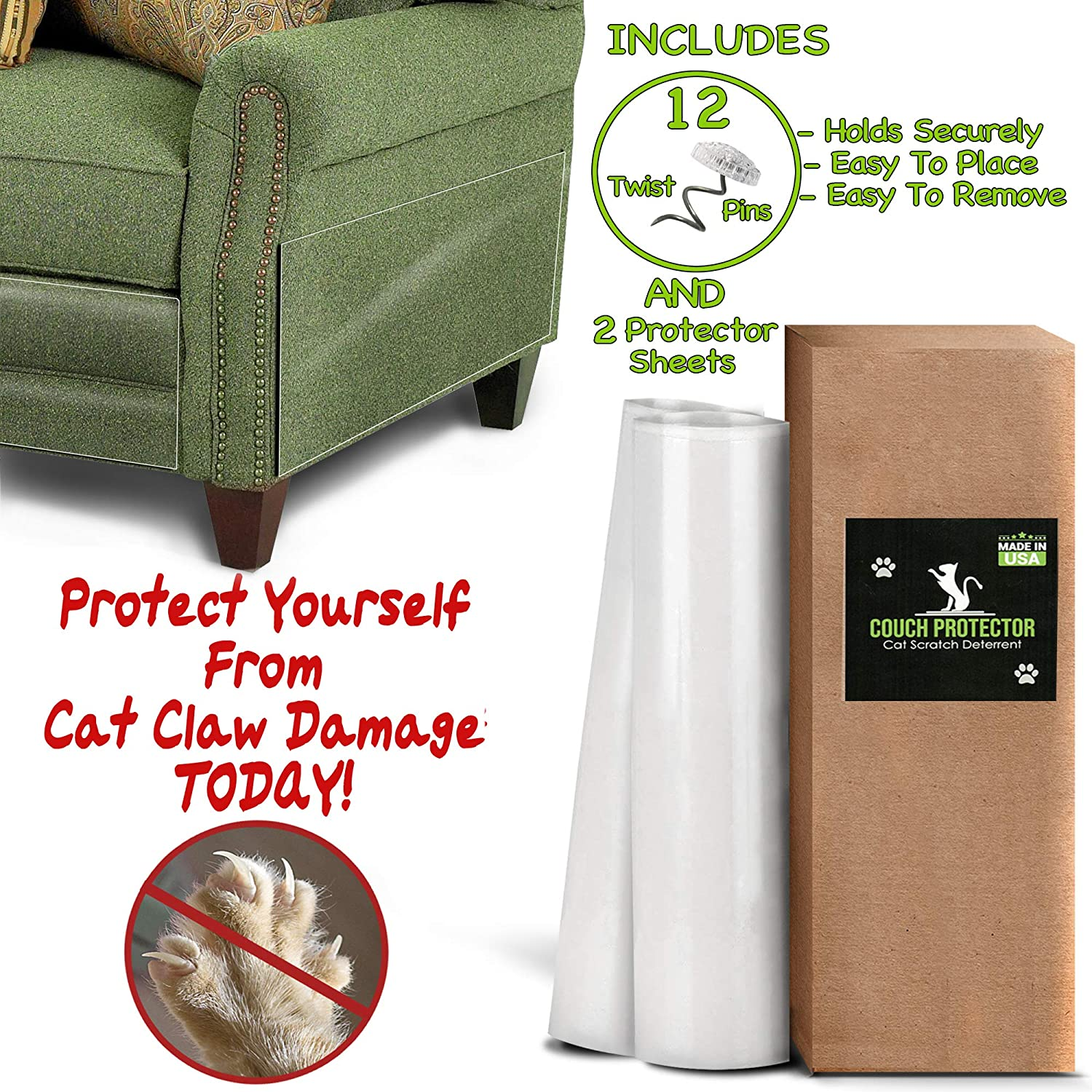 COUCH PROTECTOR - CAT Scratch Deterrent | Cat Repellent For Furniture | Couch Protector From Cats | Cat Couch Protector | Furniture Protector From Cats