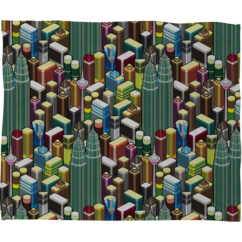60 x 80 Deny Designs Raven Jumpo Kl City Fleece Throw Blanket
