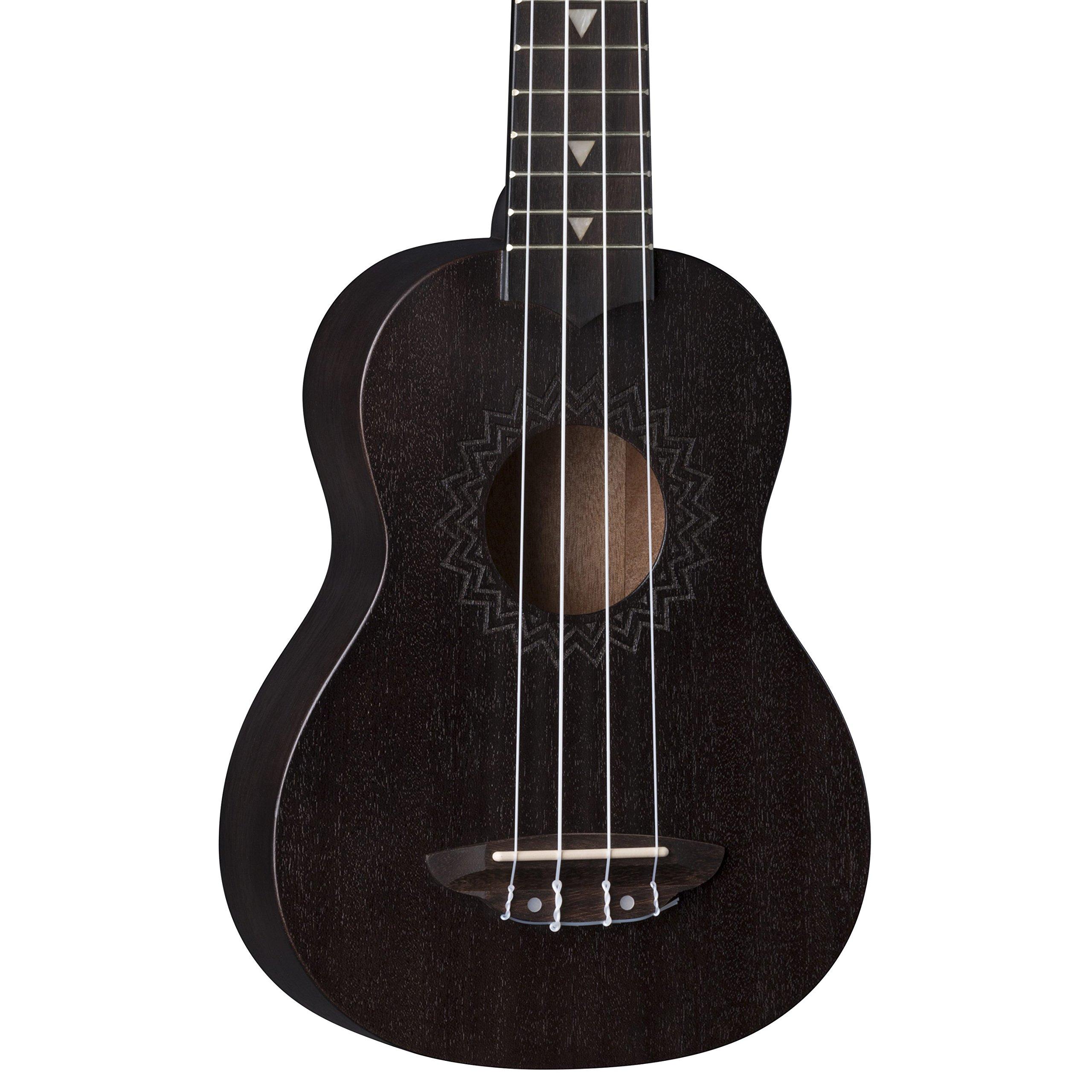 Luna Ukulele Vintage Mahogany Soprano, Black Satin by Luna Guitars (Image #1)