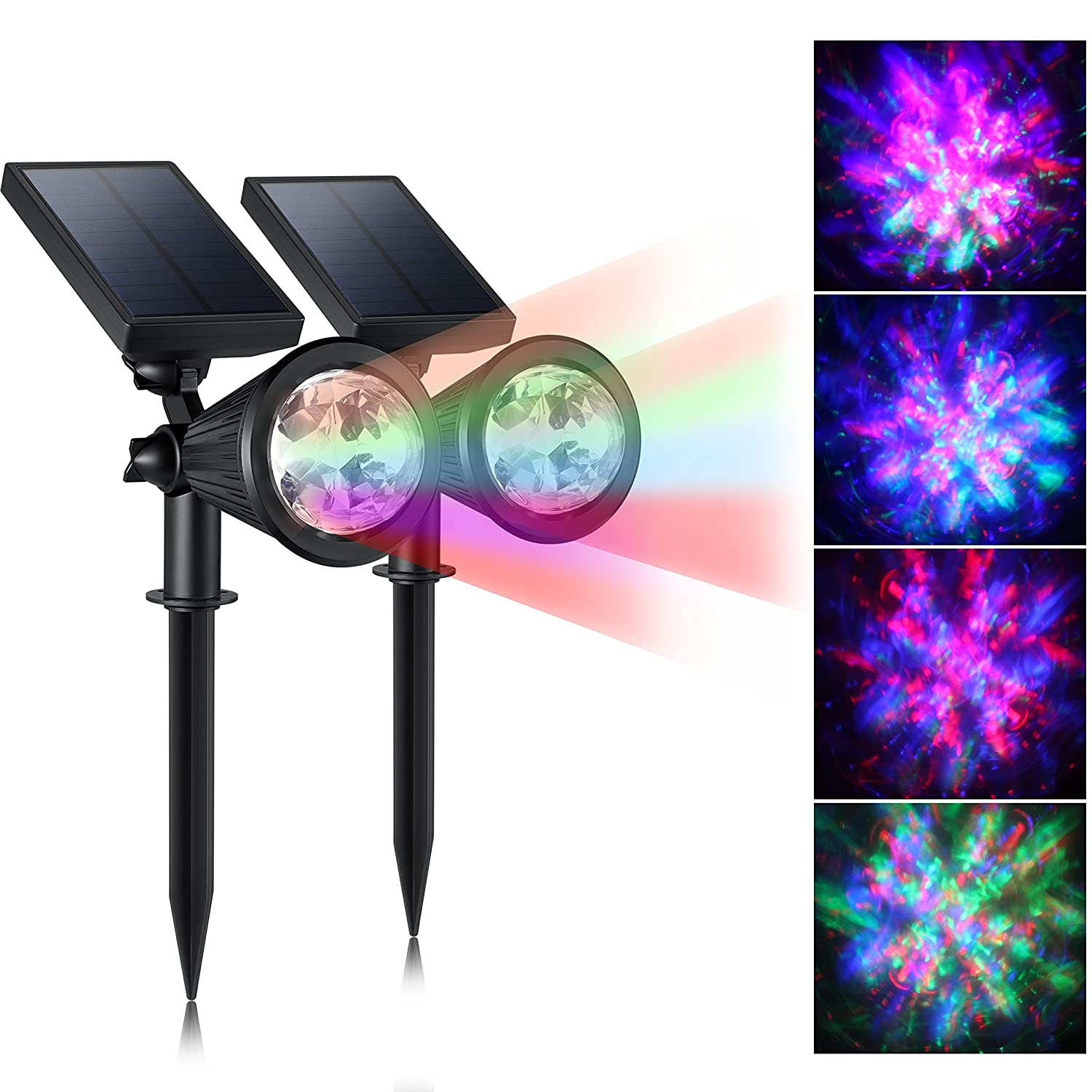 Solar Christmas Lights Outdoor, CREATIVE DESIGN Colored Solar Spotlight  Outdoor, Waterproof Wall Lights Solar Lights With Auto On/Off For Garden,  Christmas, ...