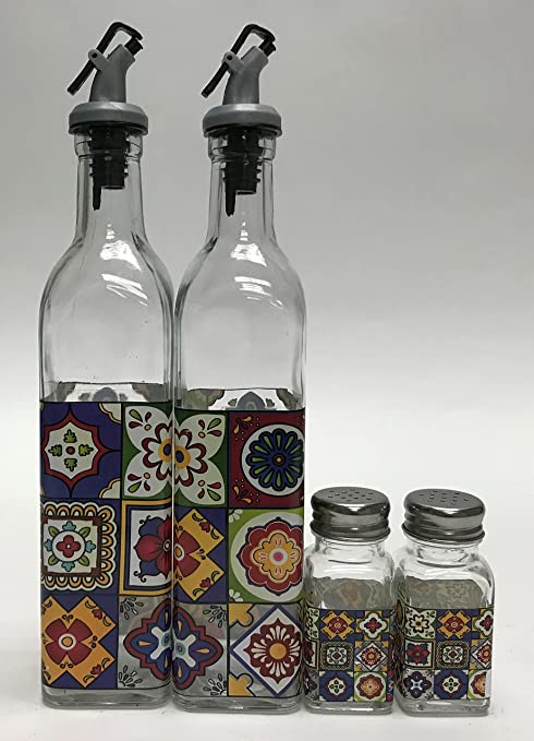 Amazon Com Circleware Talavera Dual Glass Olive Oil And Vinegar Dispenser Bottles 4 Piece Pourer Spouts Matching Salt Pepper Shakers Kitchen Home Decal Chef Cooking Decor Glassware Set 17 Oz Clear