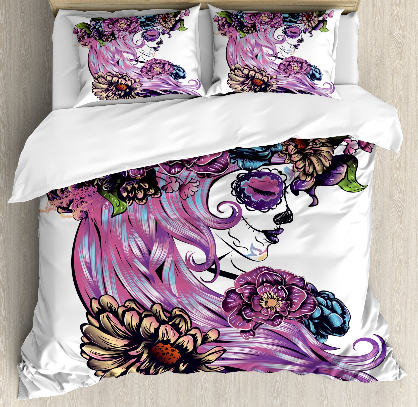 Gothic Decor Queen Size Duvet Cover Set by Ambesonne, Day of the Dead Illustration with Sugar Skull Girl in Decorative Flower Wreath, Decorative 3 Piece Bedding Set with 2 Pillow Shams