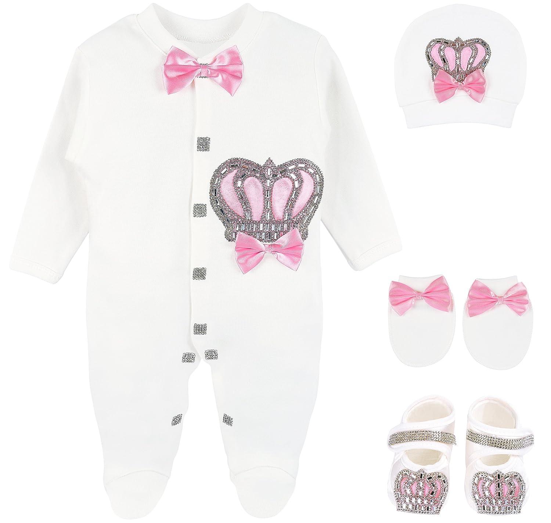 Lilax Baby Girl Newborn Jewels Layette 4 Piece Gift Set 0-3 Months 1475