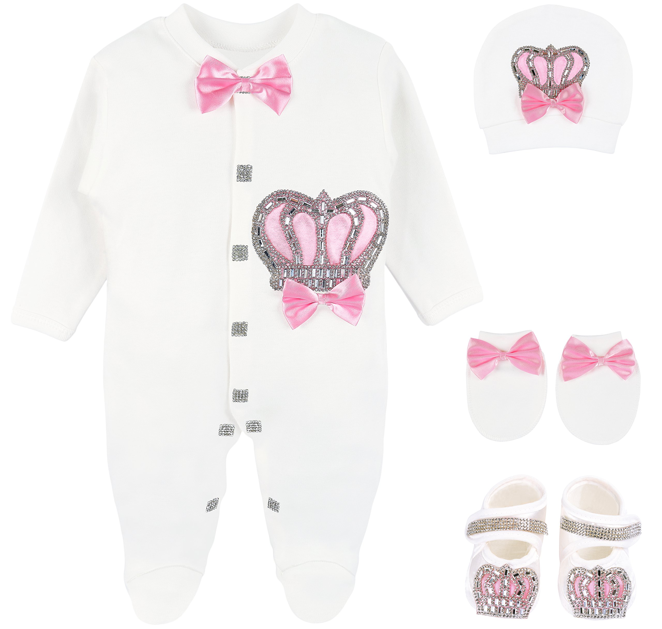 Lilax Baby Girl Newborn Crown Jewels Layette 4 Piece Gift Set 0-3 Months Pink by Lilax