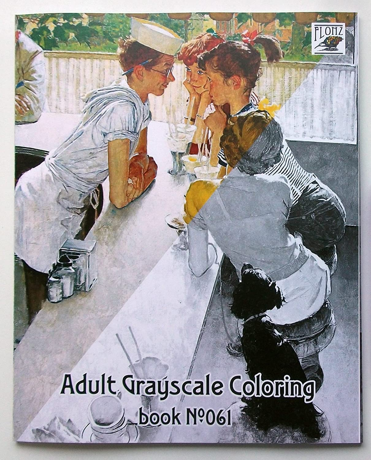 24 pages 8x11//A4 Adult Coloring Book Children Everyday Life by Norman Rockwell FLONZ Vintage Designs for Grayscale Coloring