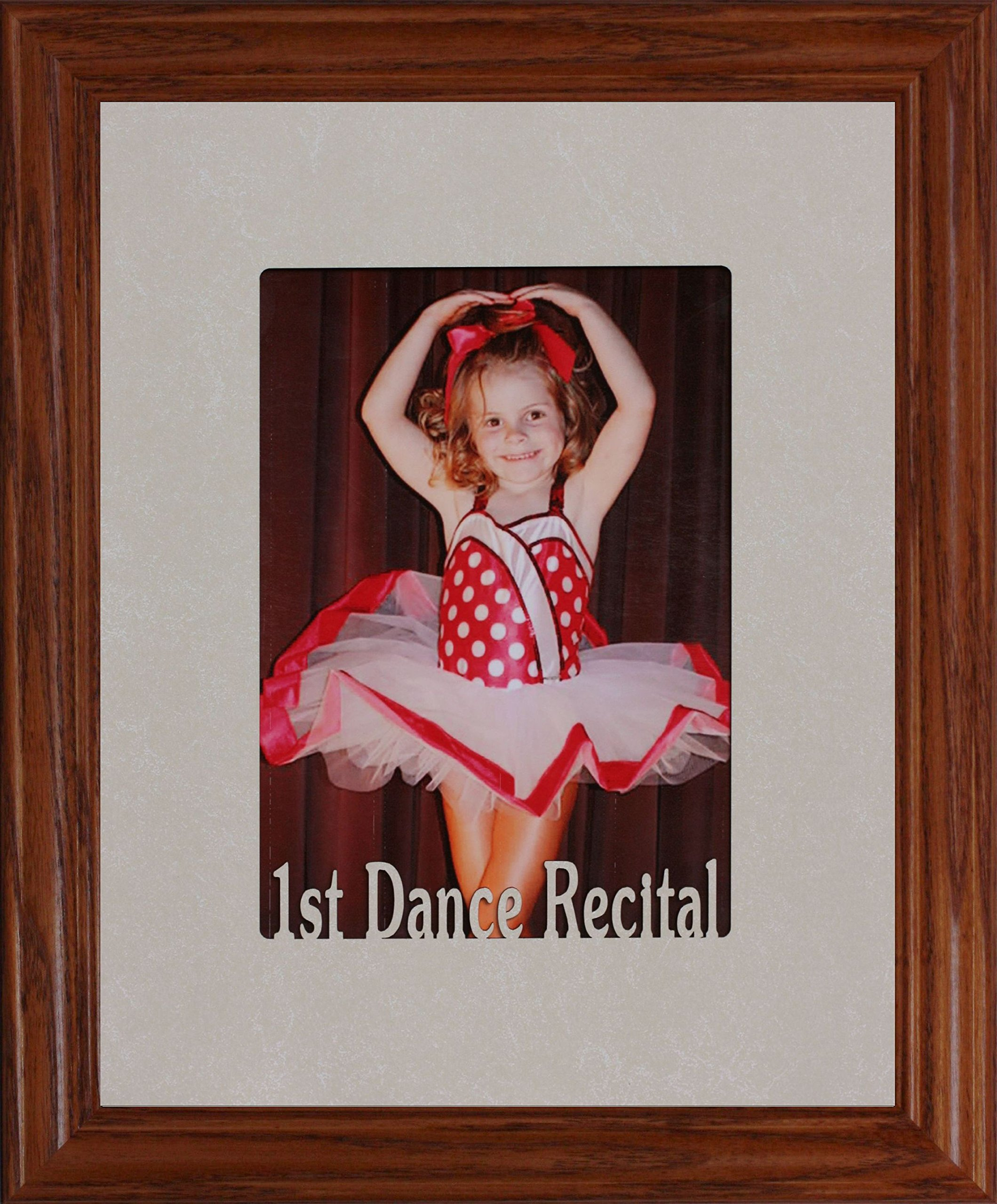 1st DANCE RECITAL Frame ~ Holds a Portrait 5x7 Picture/Photo (FRUITWOOD)