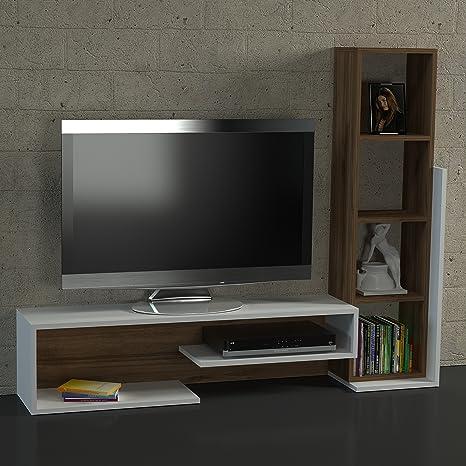 Parete Attrezzata Mensola Porta Tv.Homidea Parete Attrezzata Bella Bianco Noce Mobile Porta Tv Con Mensole Mensola In Un Design Moderno