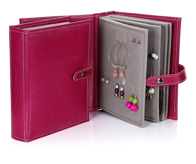 Little Book of Boucles d'oreilles - Solution de stockage Earring - Mock Croc Red Little Book of Earrings LSO03