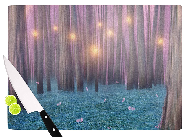 KESS InHouse Viviana GonzalezPink Feather Dance Digital Blue Cutting Board 11.5 x 15.75 Multicolor