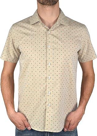 1stAmerican Casual Camisa Hombre 100% Algodon Slim fit - Blusa Manga Corta Cuello clásico Tejido Jacquard Estampado: Amazon.es: Ropa y accesorios