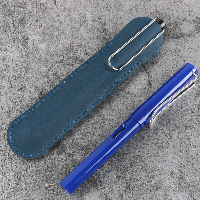 noir Sensise /Étui en cuir pour stylo /à plume simple Fait main Housse de protection souple pour stylos 15 cm x 3,5 cm 4,2 cm