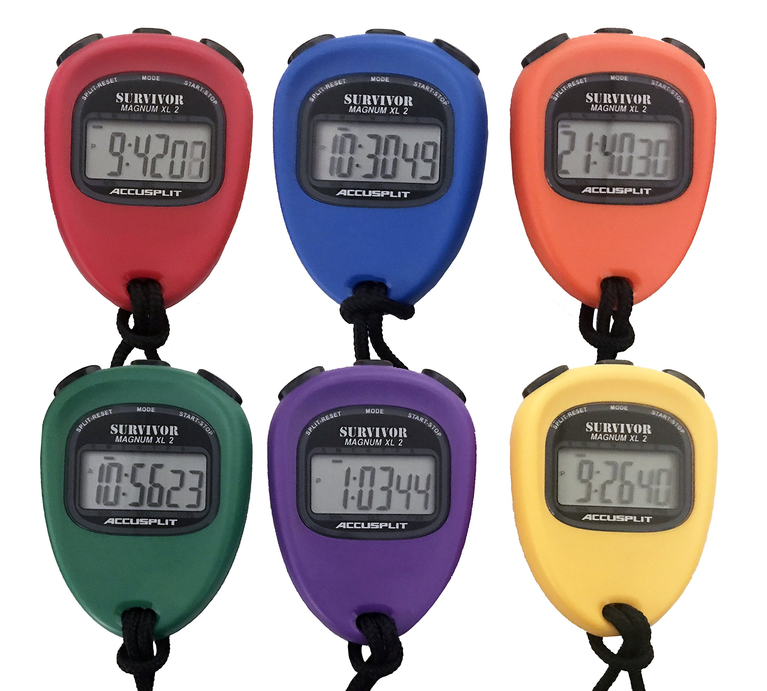 ACCUSPLIT New Survivor SX 2 Series Stopwatches (6 Pack of Assorted Colors)
