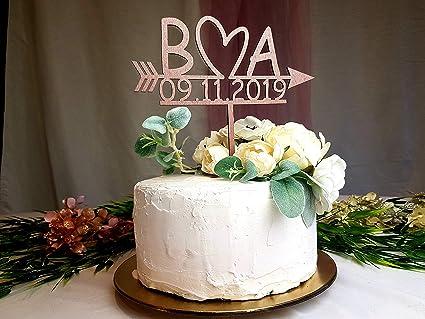 Wedding Cake Topper.Amazon Com 659parkerrob Wedding Initials Cake Topper Rose Gold