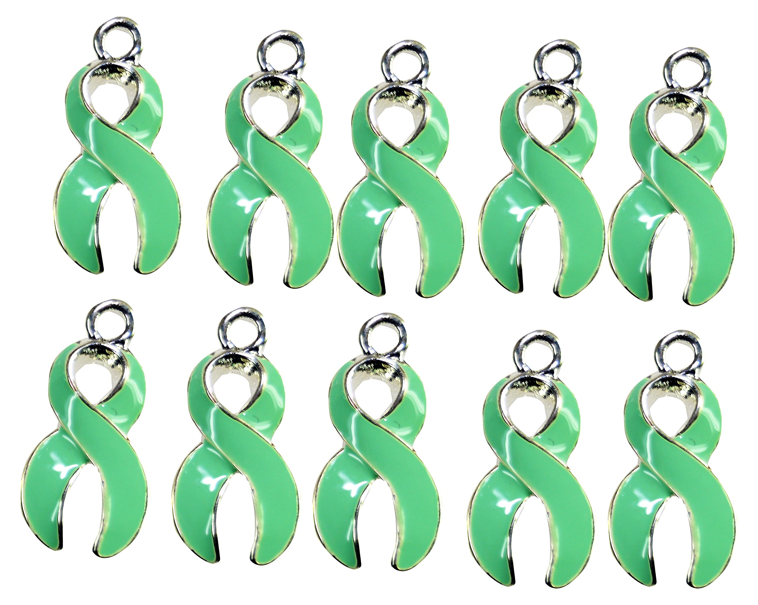 Light Green Ribbon Charm Awareness Charm Mint Green Ribbon Charm