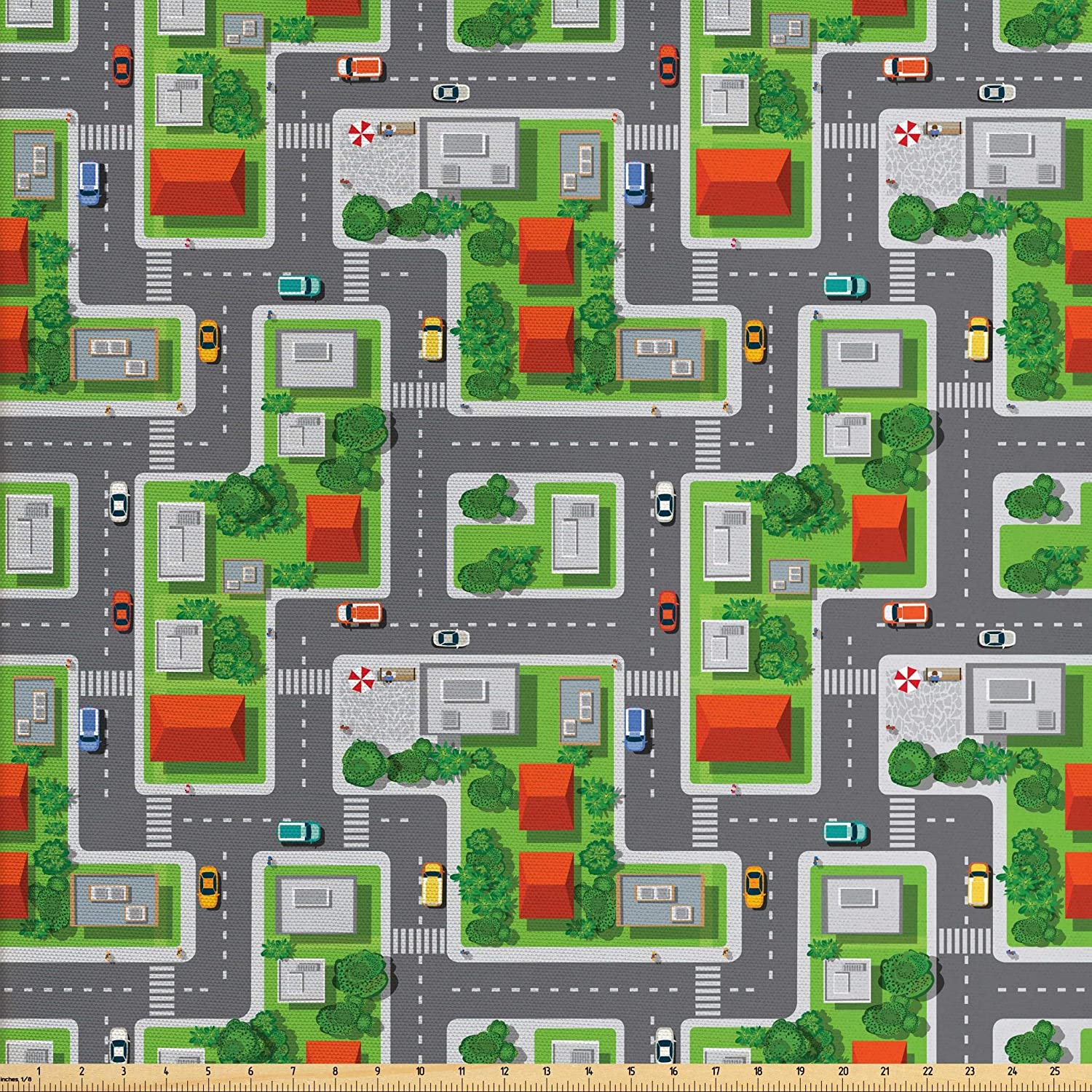 Ambesonne City Fabric by The Yard, Birds Eye View Map of The Abstract Town  Streets Roads Houses and Cars Cartoon Print, Decorative Fabric for ...