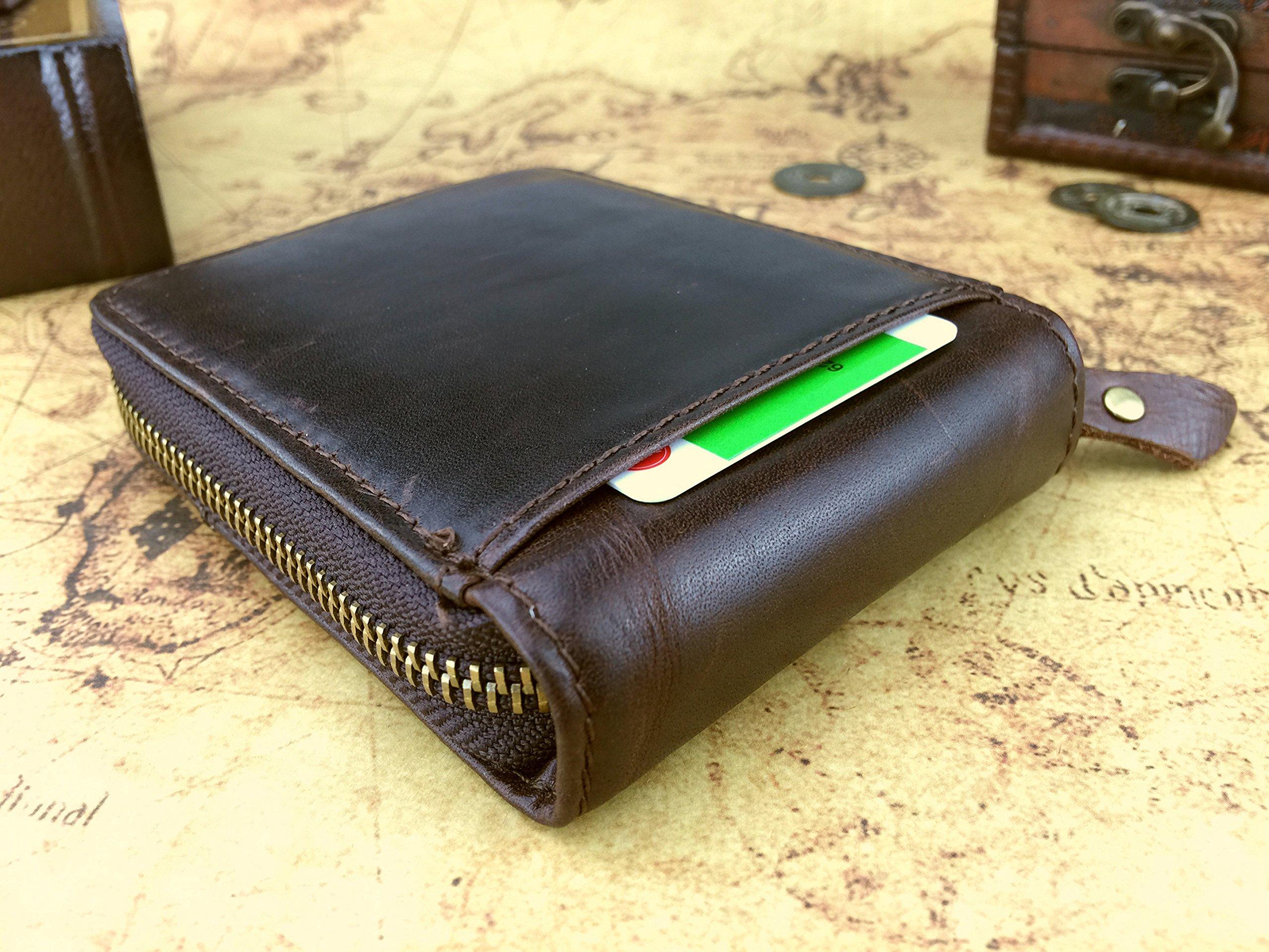 Admetus Men's Genuine Leather Short Zip-around Bifold Wallet (brown) by Admetus (Image #6)