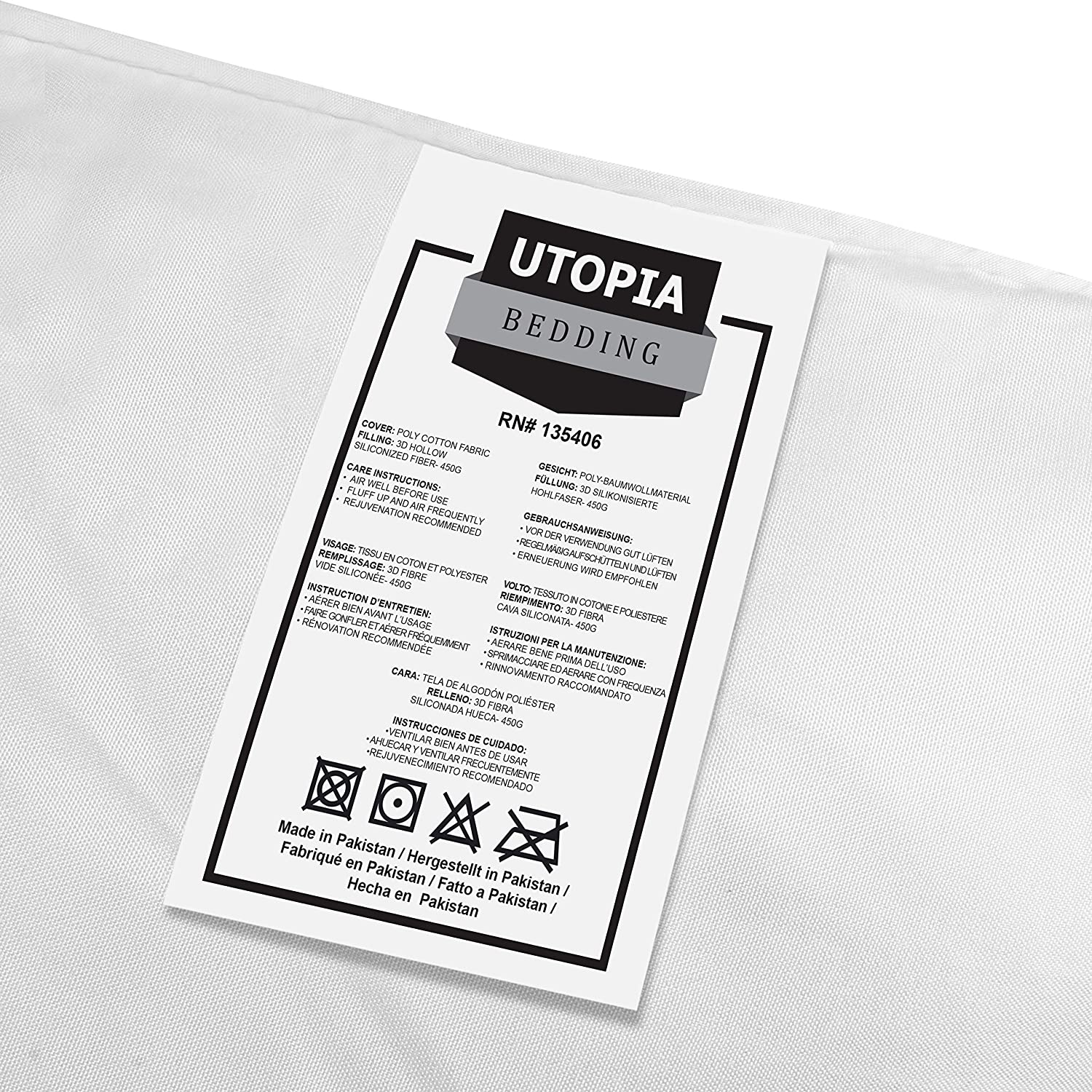 Polycotton Cover Utopia Bedding Cushion Inner Pads - Cushion Inserts 16 x 16 - Hollowfibre Cushion Fillers 40 x 40 cm Pack of 2, White