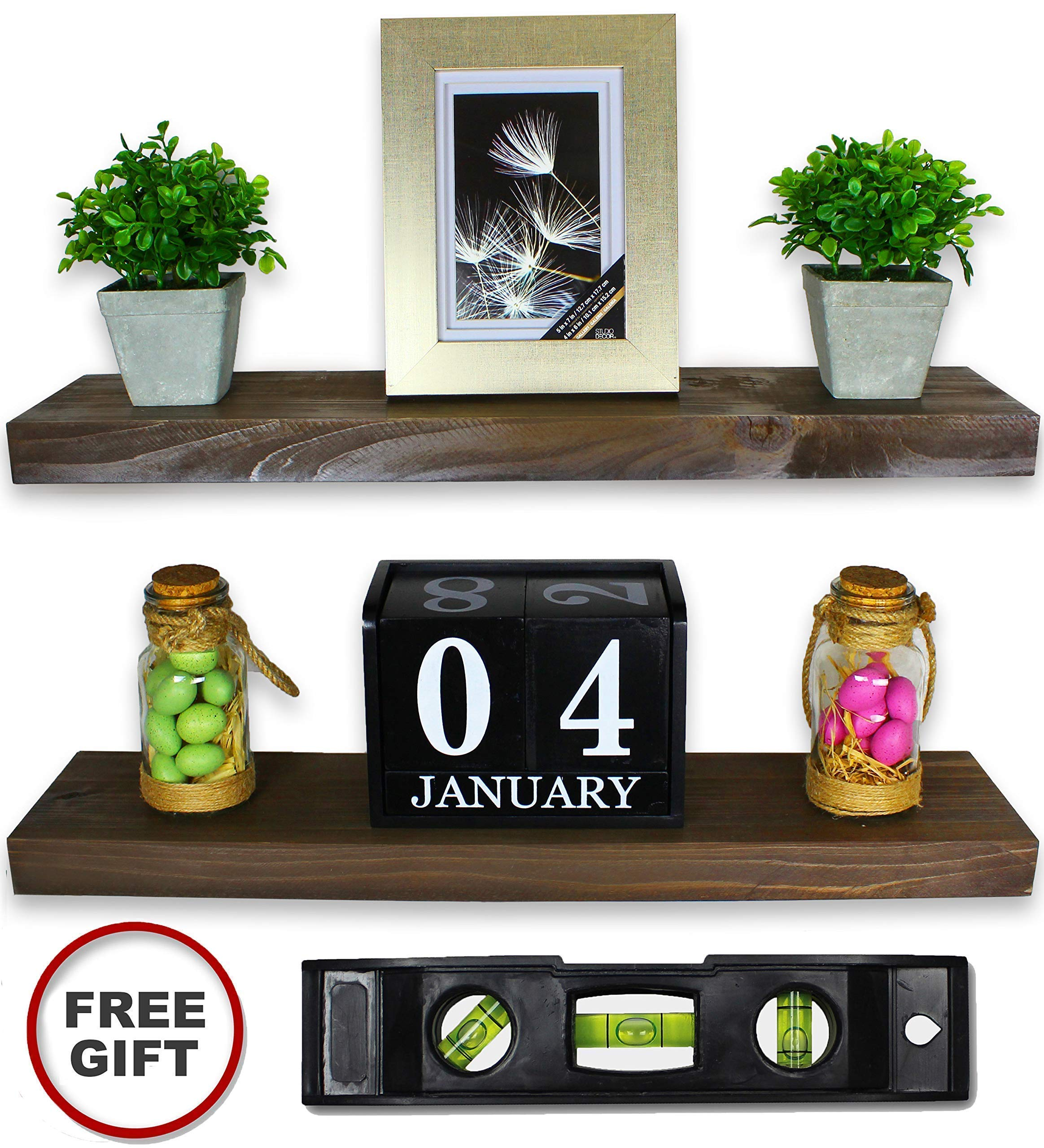 2 Set Floating Shelves - Real Wood Mounted Wall Shelf - Kitchen/Bathroom/Bedroom/Bedrooms/Living Room - 24in x 5.5in x 1.5in Hanging Shelf - Fir Wood W/Walnut Finish - Mounts and Level Tool Included