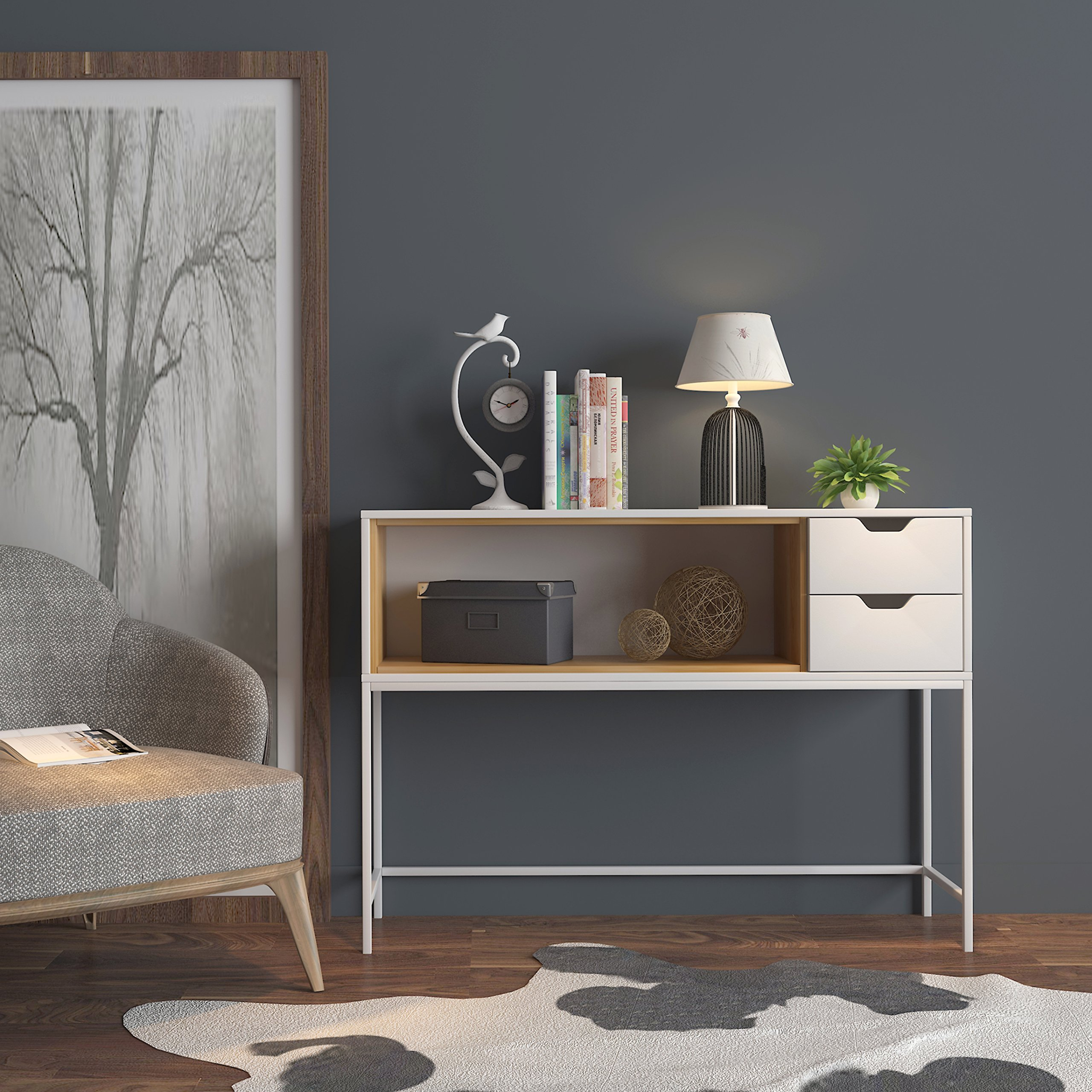 White / Natural Finish Sofa Console Buffet Sideboard Display Table with 2 Drawers by eHomeProducts