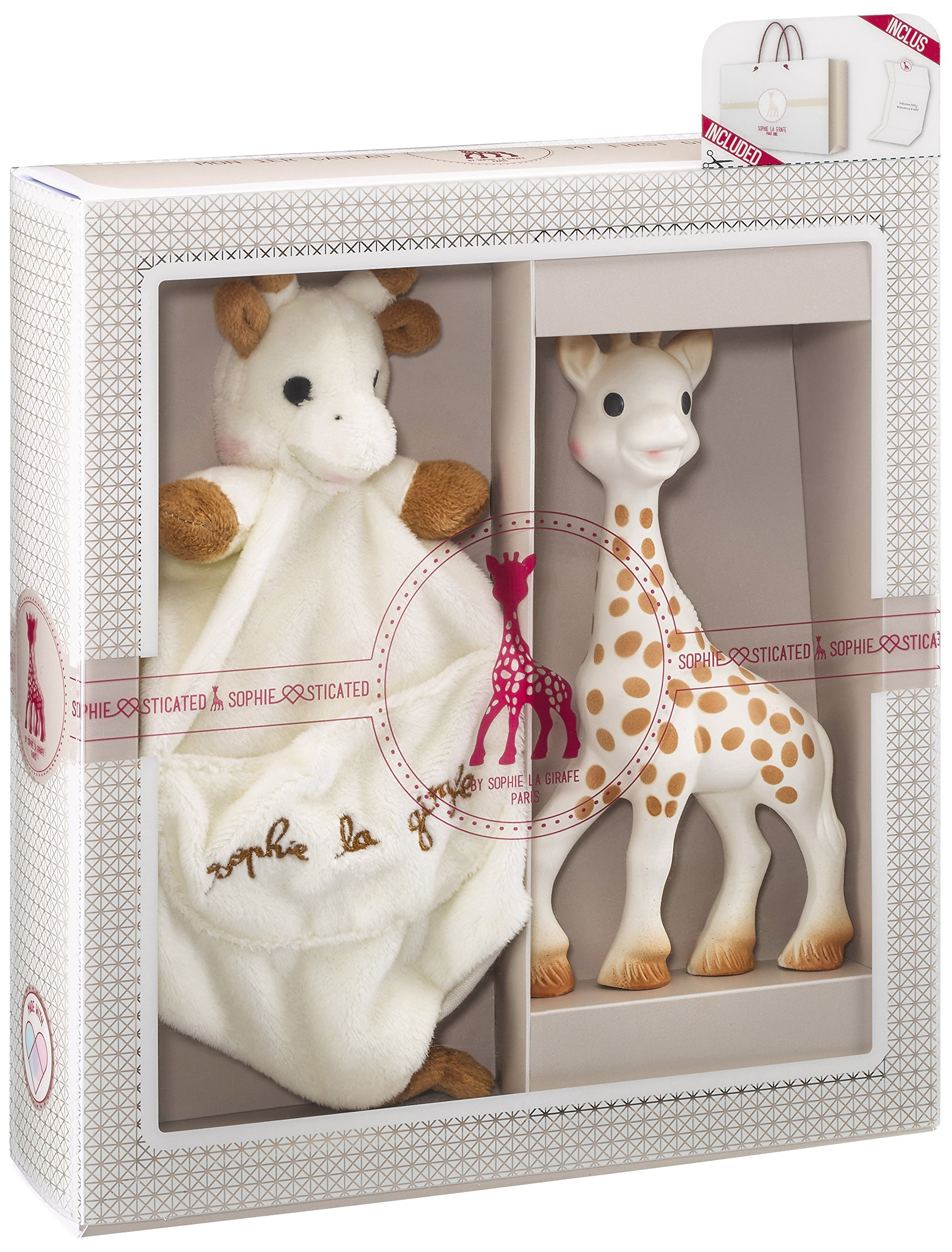 Vulli Sophie la Girafe Sophiesticated Tenderness Creation Birth Set Medium #1- Plush Lovie & Toy by Sophie La Girafe