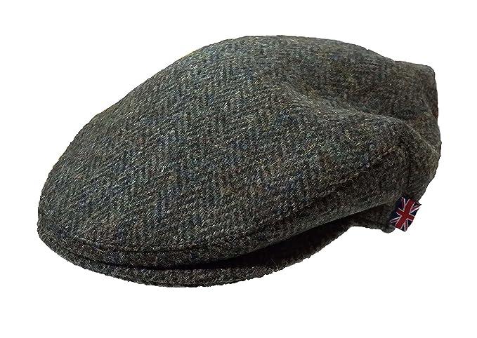 i-Smalls Mens Harris Tweed Wool Herringbone Design Country Flat Cap Hat  (Green) ac852439bb6