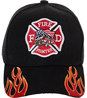 714e6865f Amazon.com: First in Last Out Fire Rescue Flames Baseball Cap with ...