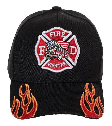 Artisan Owl Fire Fighter Fire Department Rescue Flames Baseball Cap Hat  (Black) bd67790015d