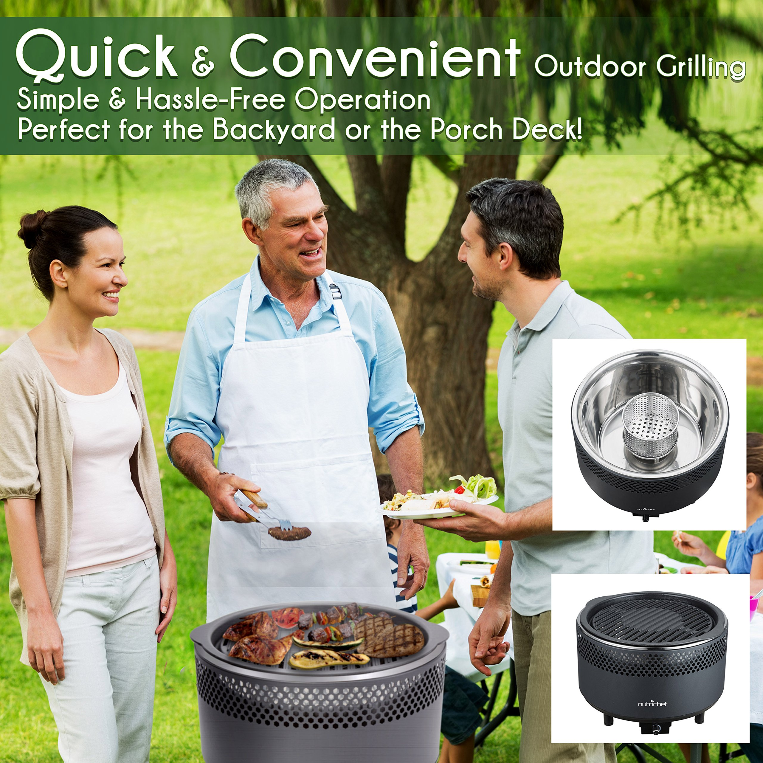 NutriChef Upgraded Charcoal BBQ Grill - Smokeless Portable Outdoor Stainless Steel Compact Easy Cleaning Heavy Duty - Battery Powered W/ Grilling Rack Coal Basket Ignition Tray & Box Set - PKGRCH41 by NutriChef (Image #5)