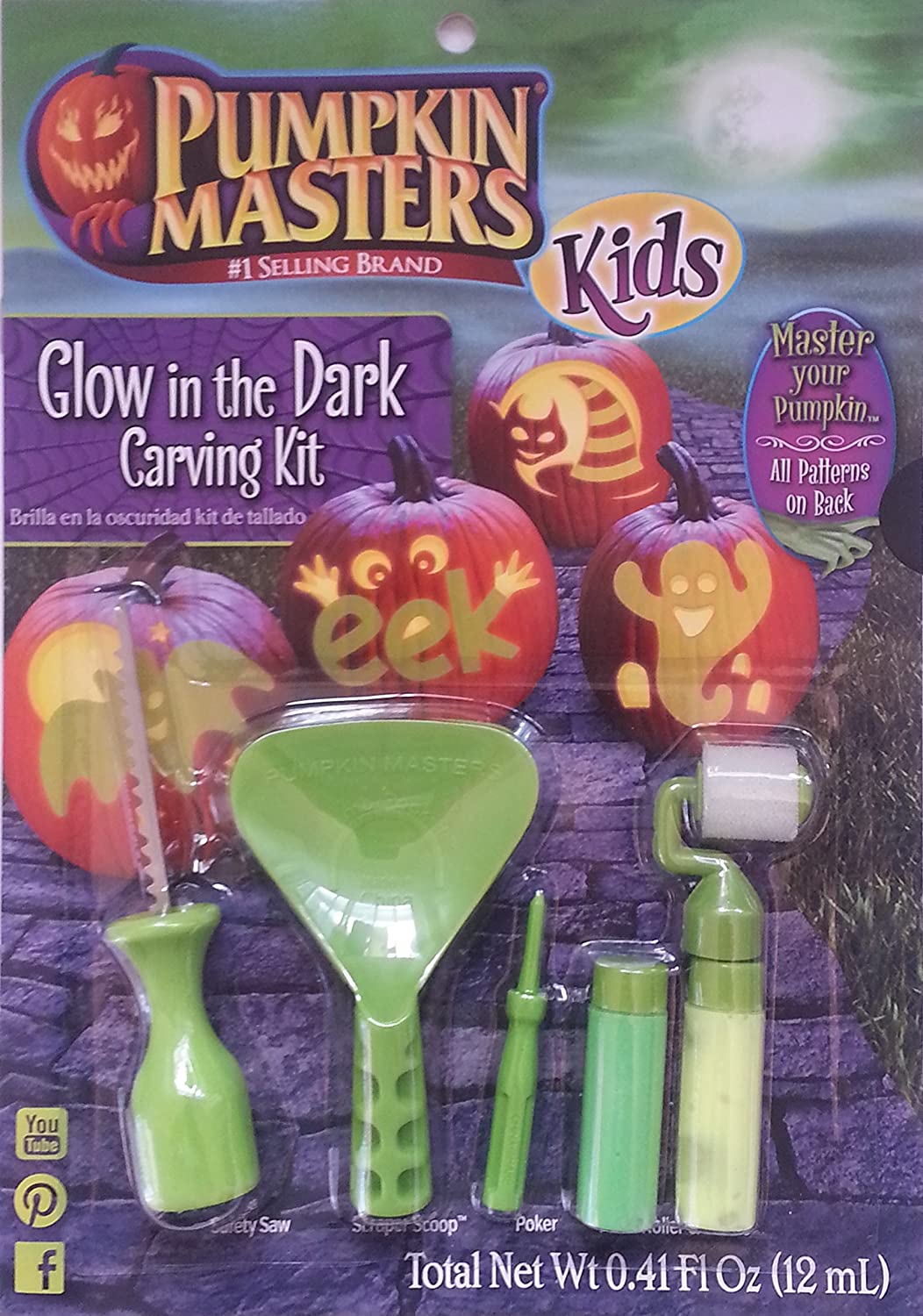 Pumpkin Masters Kid's Glow in The Dark Carving Kit Signature Brands