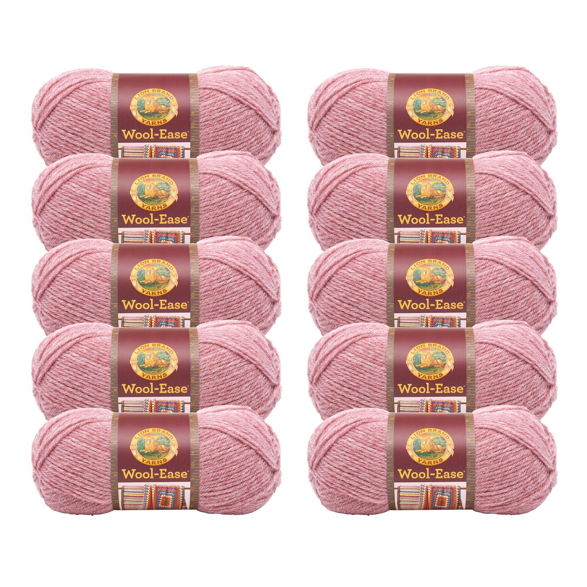 (10 Pack) Lion Brand Yarn 620-140 Wool-Ease Yarn, Rose Heather
